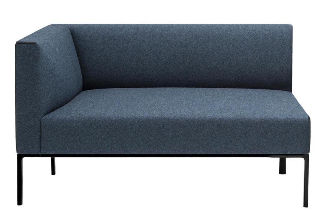Raglan 2 Seater Corner Sofa Right, Polished Chrome Aluminium, Andreu World Melange Nap, Plastic for