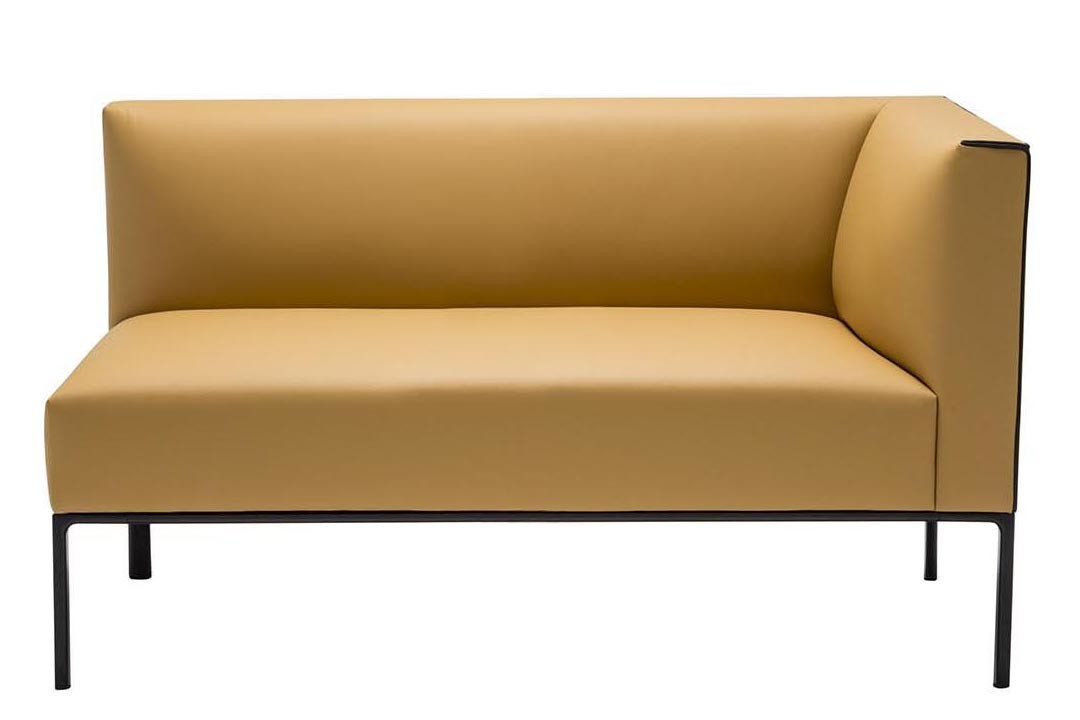 Raglan 2 Seater Corner Sofa Left, Polished Chrome Aluminium, Andreu World Dolce, Plastic with Felt