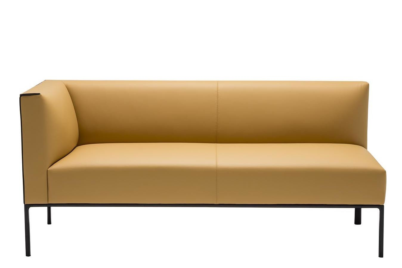 Raglan 3 Seater Corner Sofa Right, Polished Chrome Aluminium, Andreu World Silk, Plastic with Felt