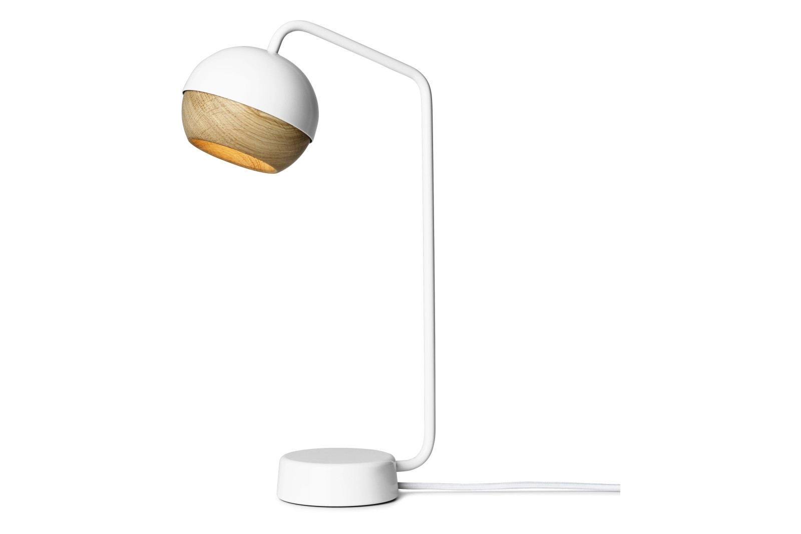 Ray Table Lamp White Painted Steel Frame & Natural Oak Shade