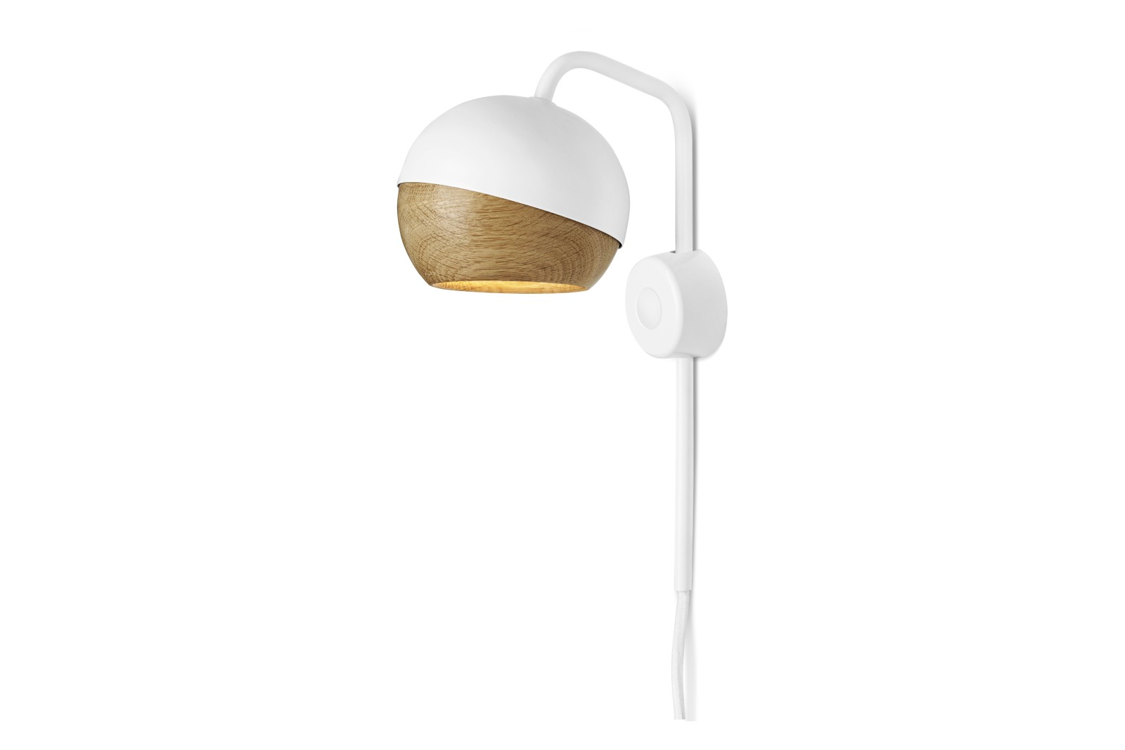Ray Wall Lamp White Painted Steel & Natural Oak Shade