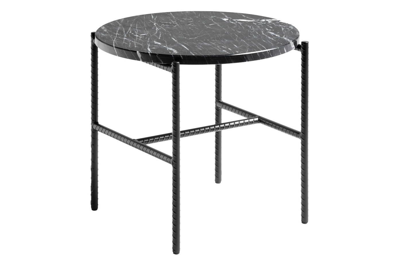 Rebar Round Side Table Marble Black