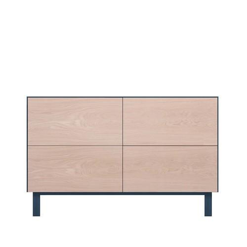 Rectangular Cabinet 4 Drawers Oak, Petrol Blue