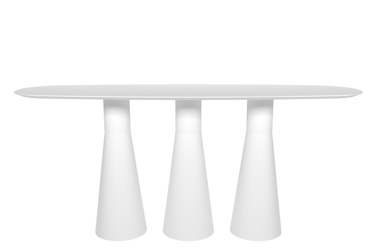 Reverse High Table with 3 Central Base 260 x 80, Wood finish Oak, Polyethylene finish