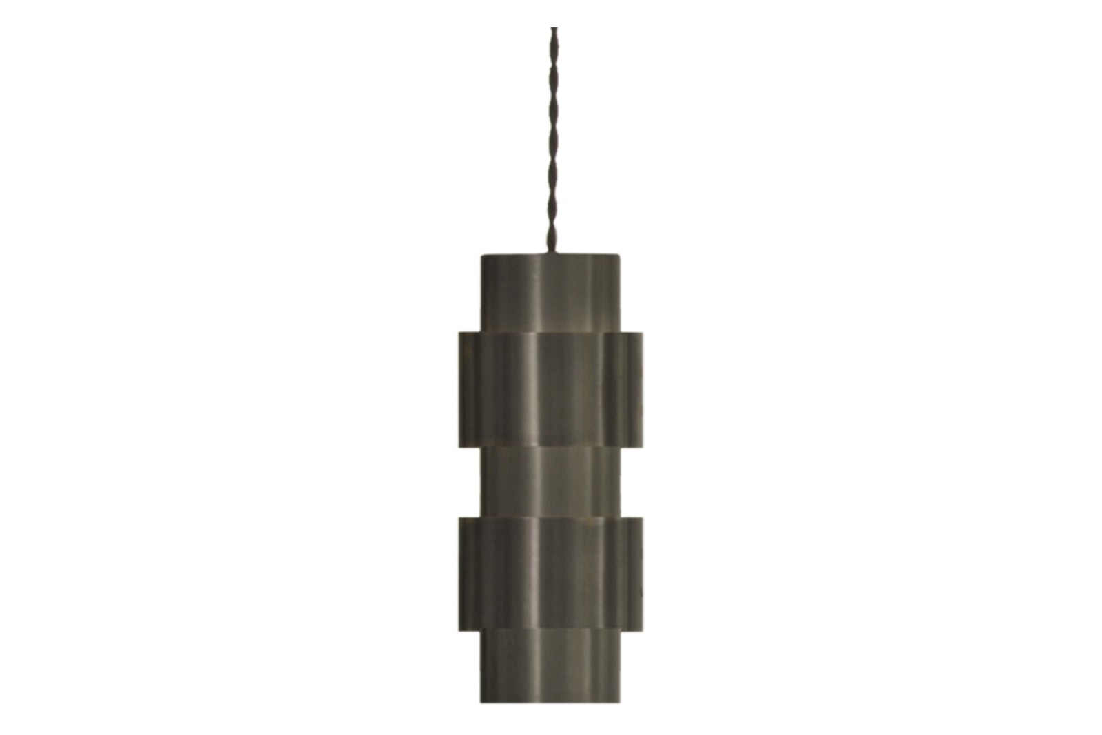 Ring Pendant Light Bronze and Satin Brass with Black Silk Braided Flex 100