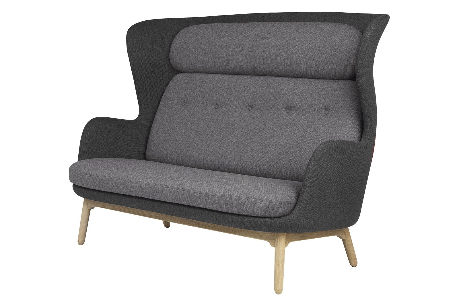 Ro 2-Seater Sofa with Wooden Base - Designer Selection dark grey