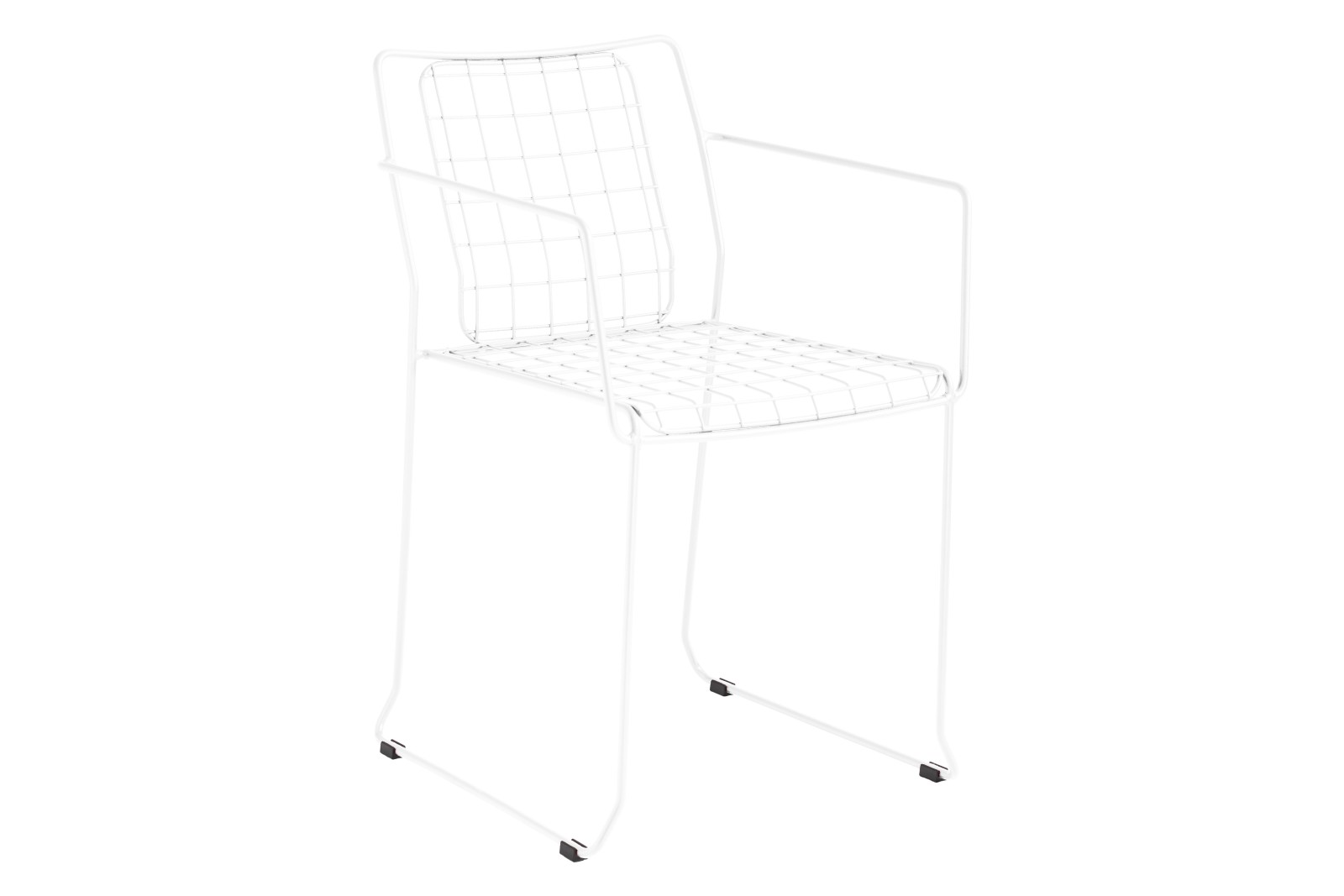 Rotterdam Chair with Arms Set of 3 RAL 9016 Ibiza White