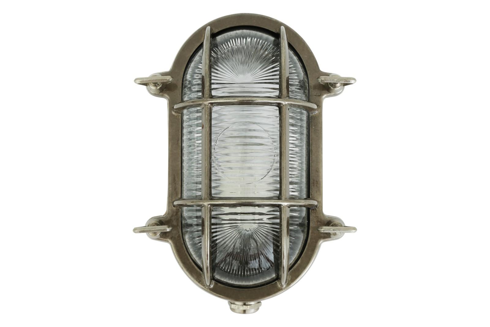 Ruben Small Oval Marine Wall Light Antique Silver