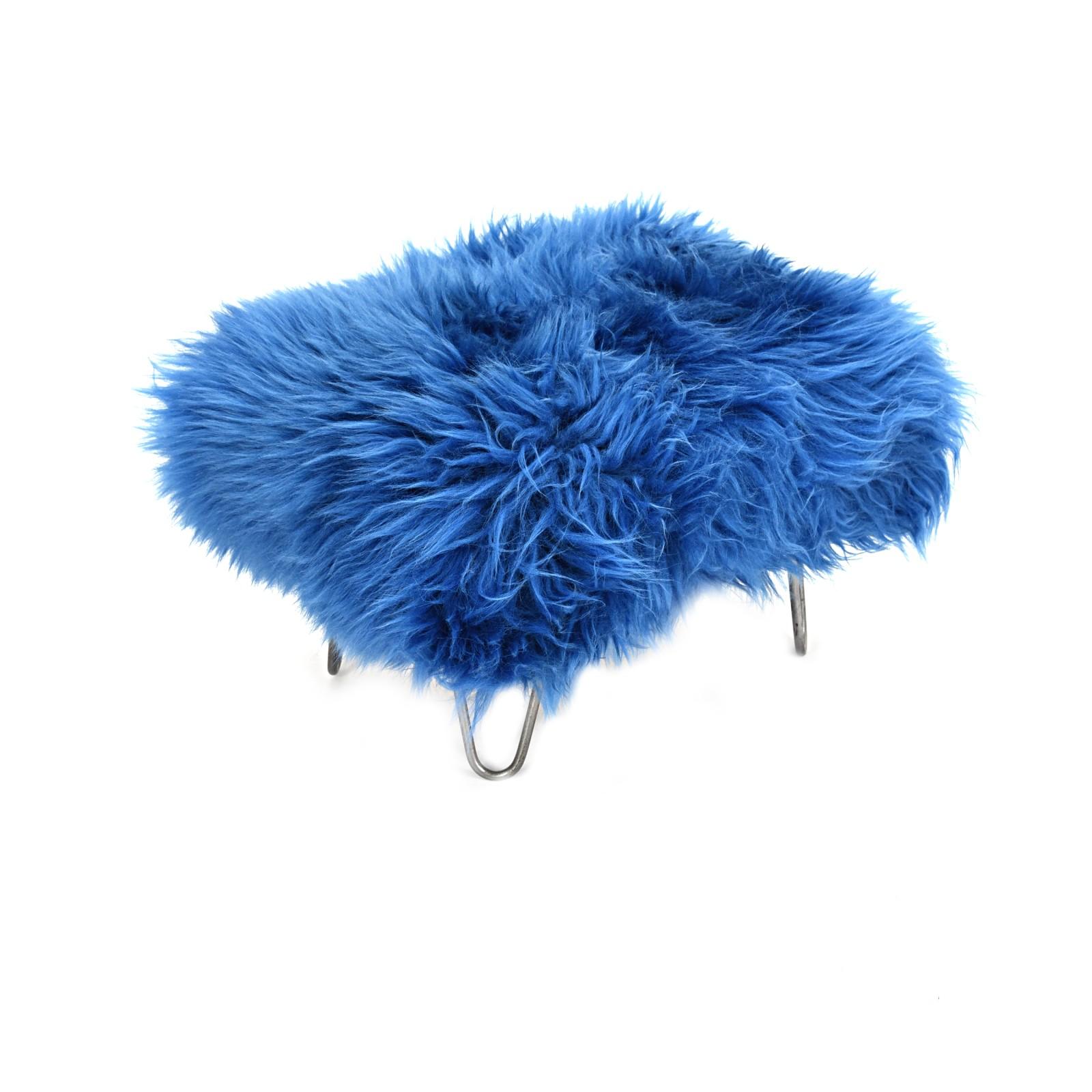 Sara - Sheepskin Footstool Cornflower Blue
