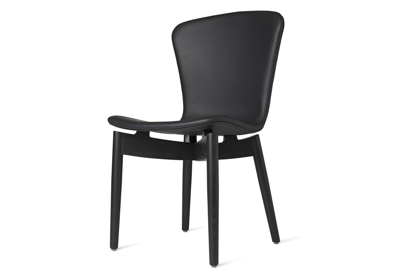 Shell Dining Chair Ultra Black Leather, Black Oak