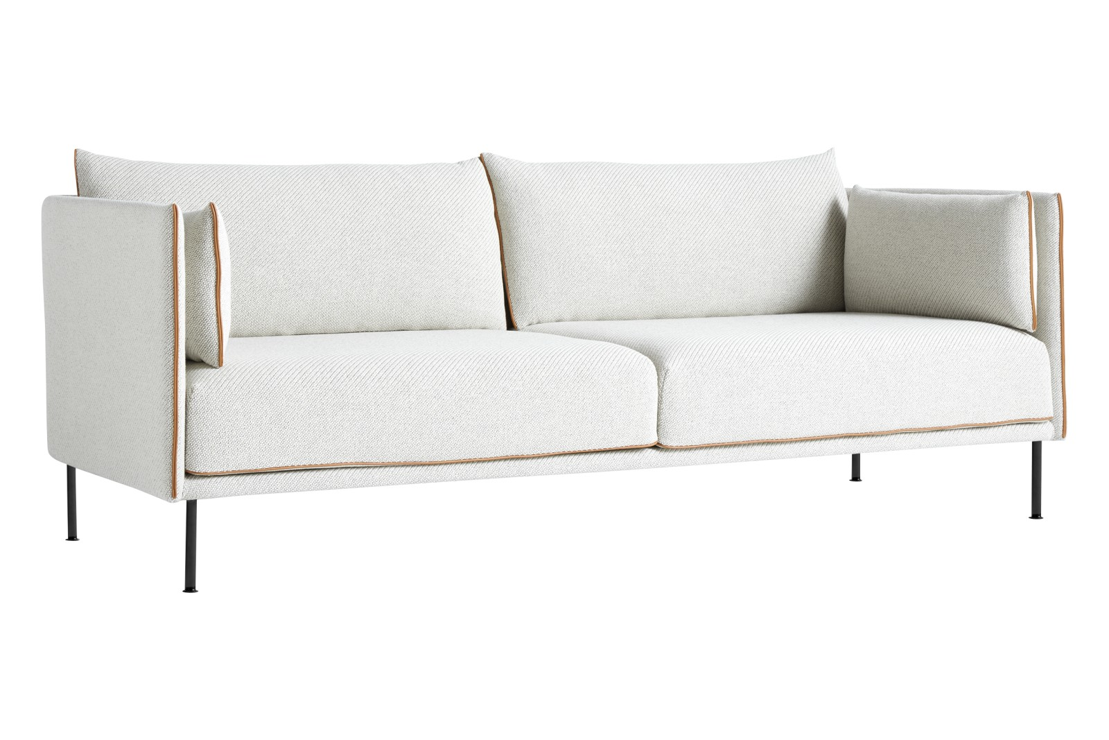 Silhouette 3 Seater Mono Sofa Fabric Group 5, Leather Cognac, Metal Black