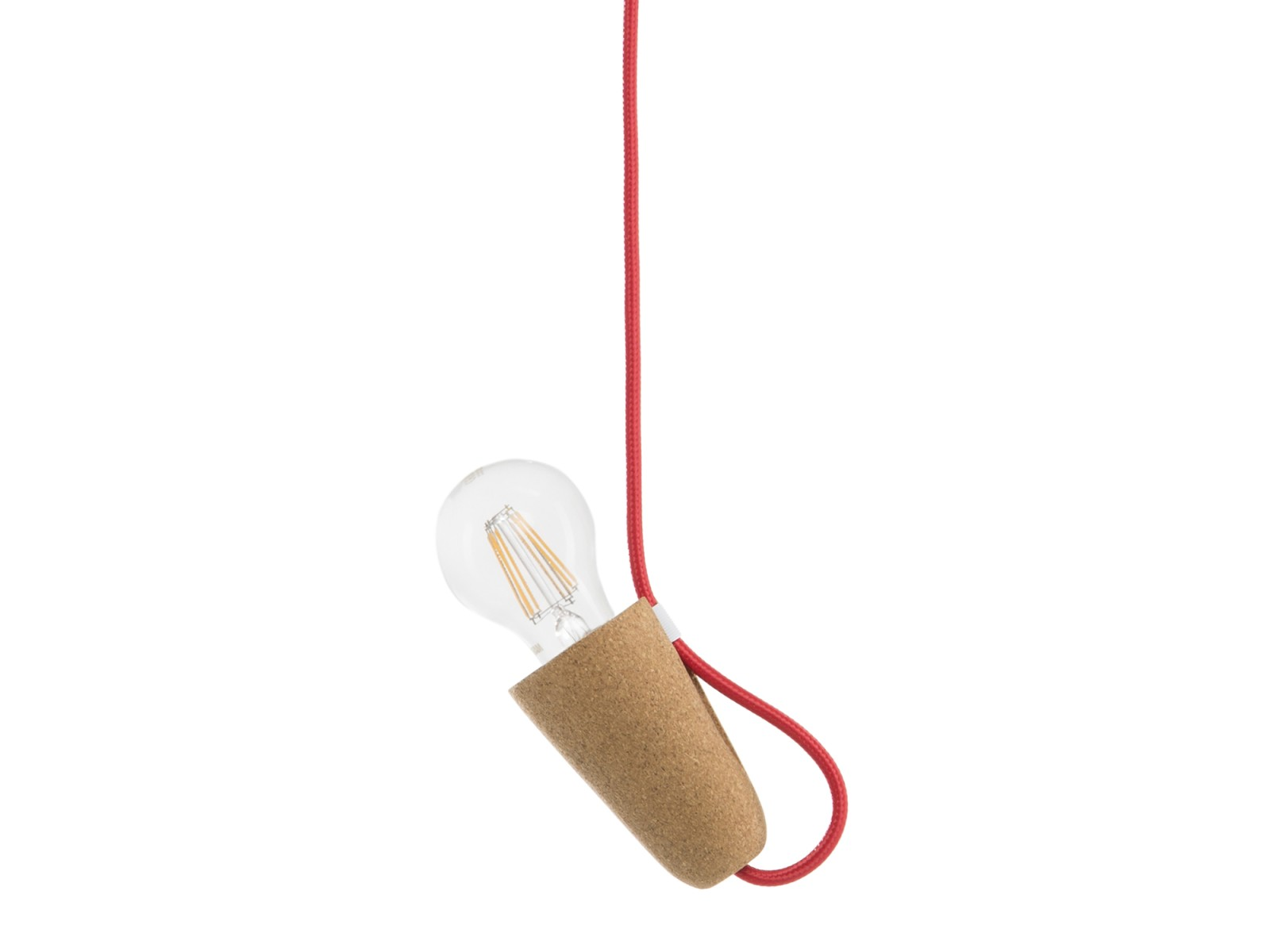 Sininho Pendant Light Light Cork Red Wire