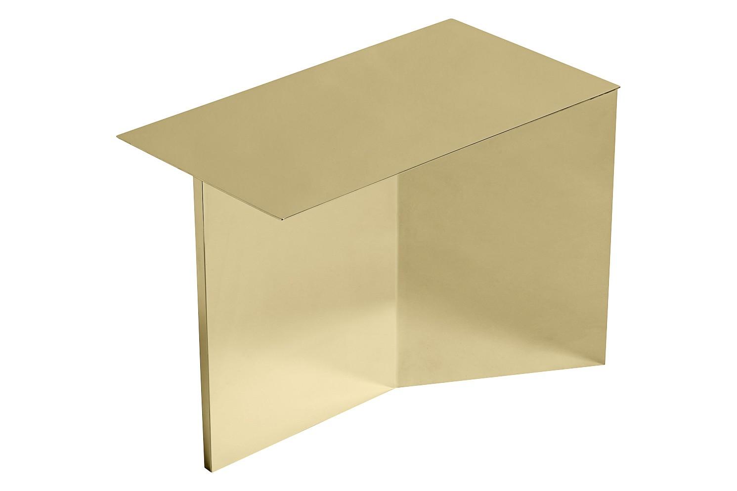 Slit Oblong Side Table Metal Polished Brass