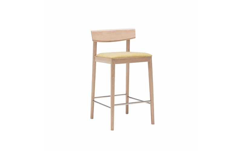 Smart Counter Stool with Upholstered Seat Set of 4 Andreu World Softfibra, Wood finish Beech 311