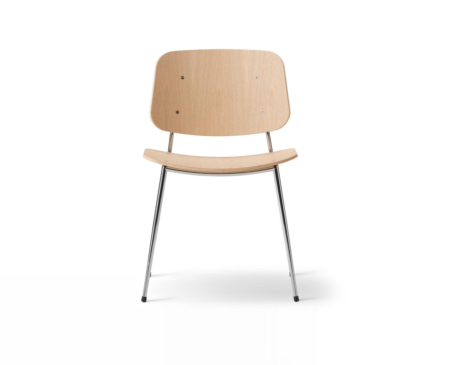Soborg chair, steel frame Oak lacquered, Chrome
