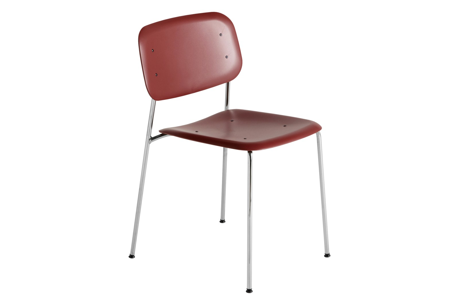 Soft Edge P10 Dining Chair Plastic Fall Red, Metal Chromed Steel