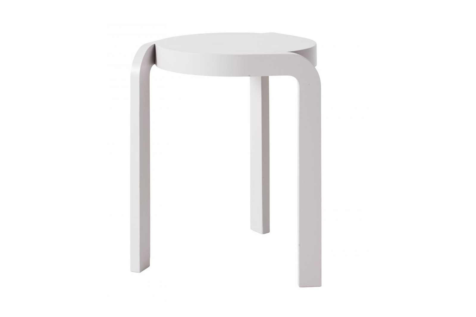 Spin Stackable Stool Ash Wood White Lazur