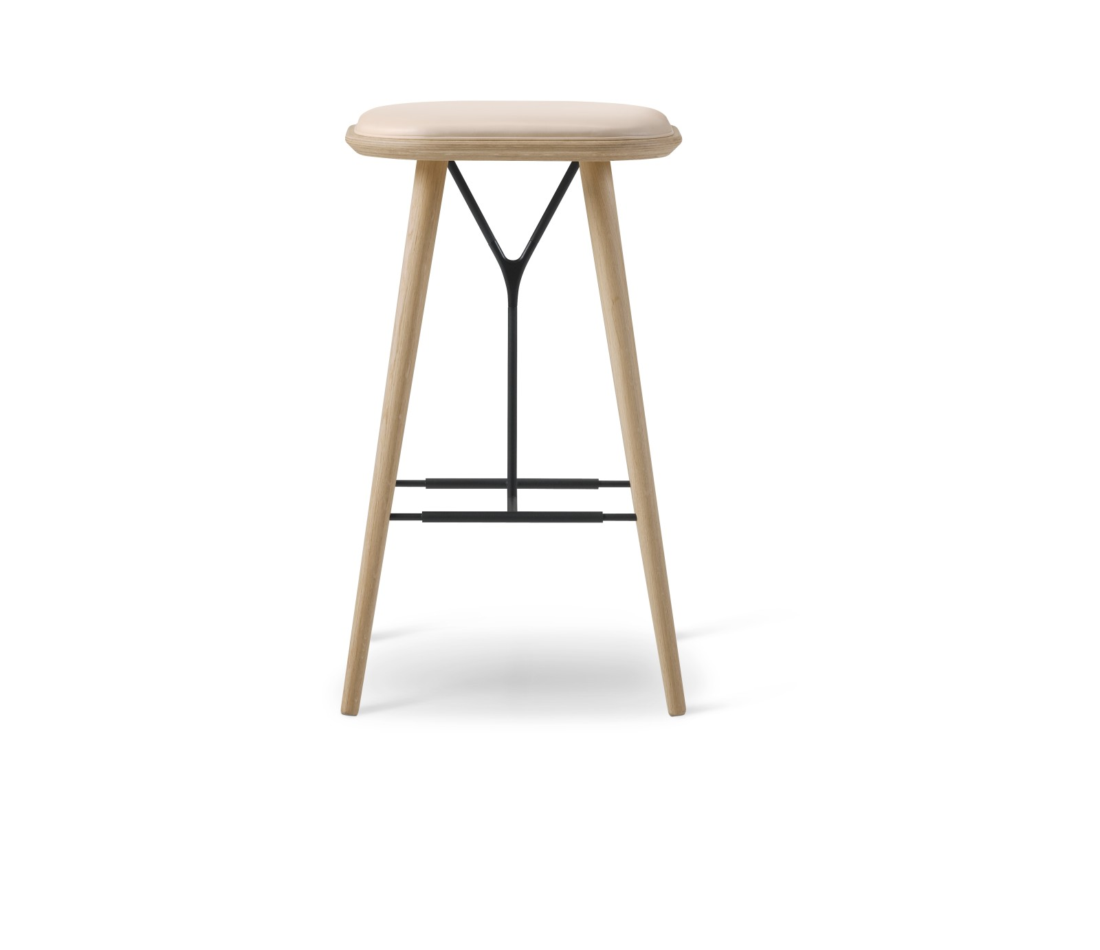 Spine Wood base Stool Oak lacquered, Leather 90 Nature
