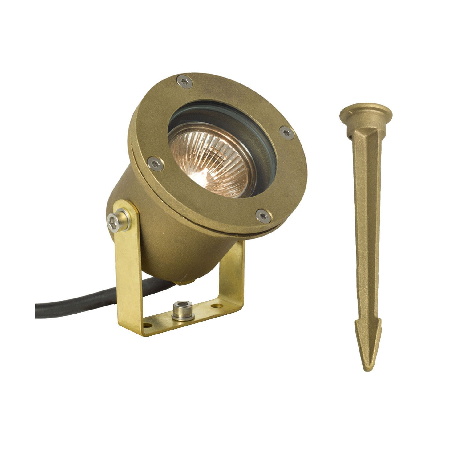 Spotlight for Submerged or Surface Use, Ground Spike, 7604 Brass