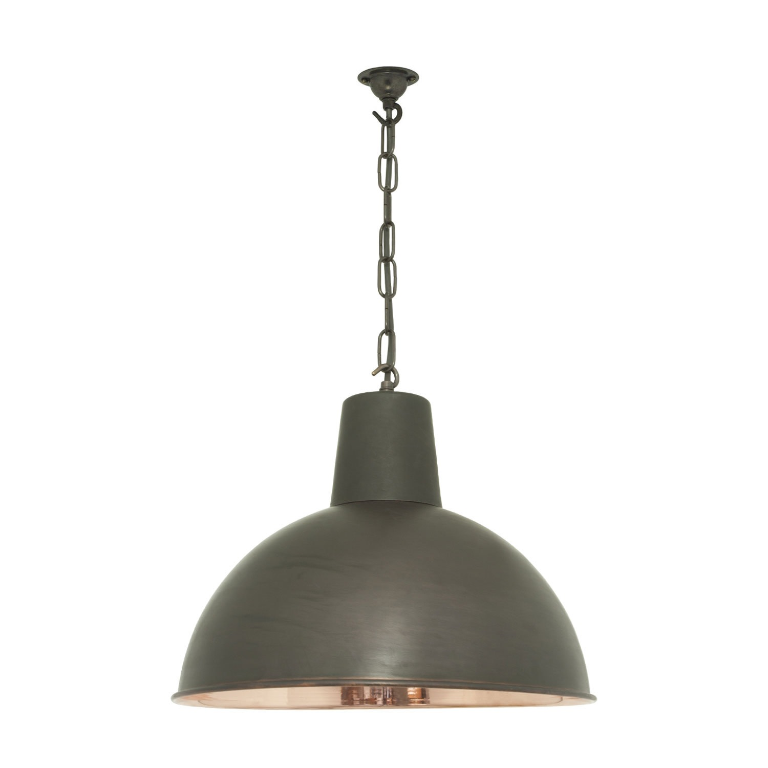 Spun Reflector Pendant Light Weather Copper, Polished Interior, Medium