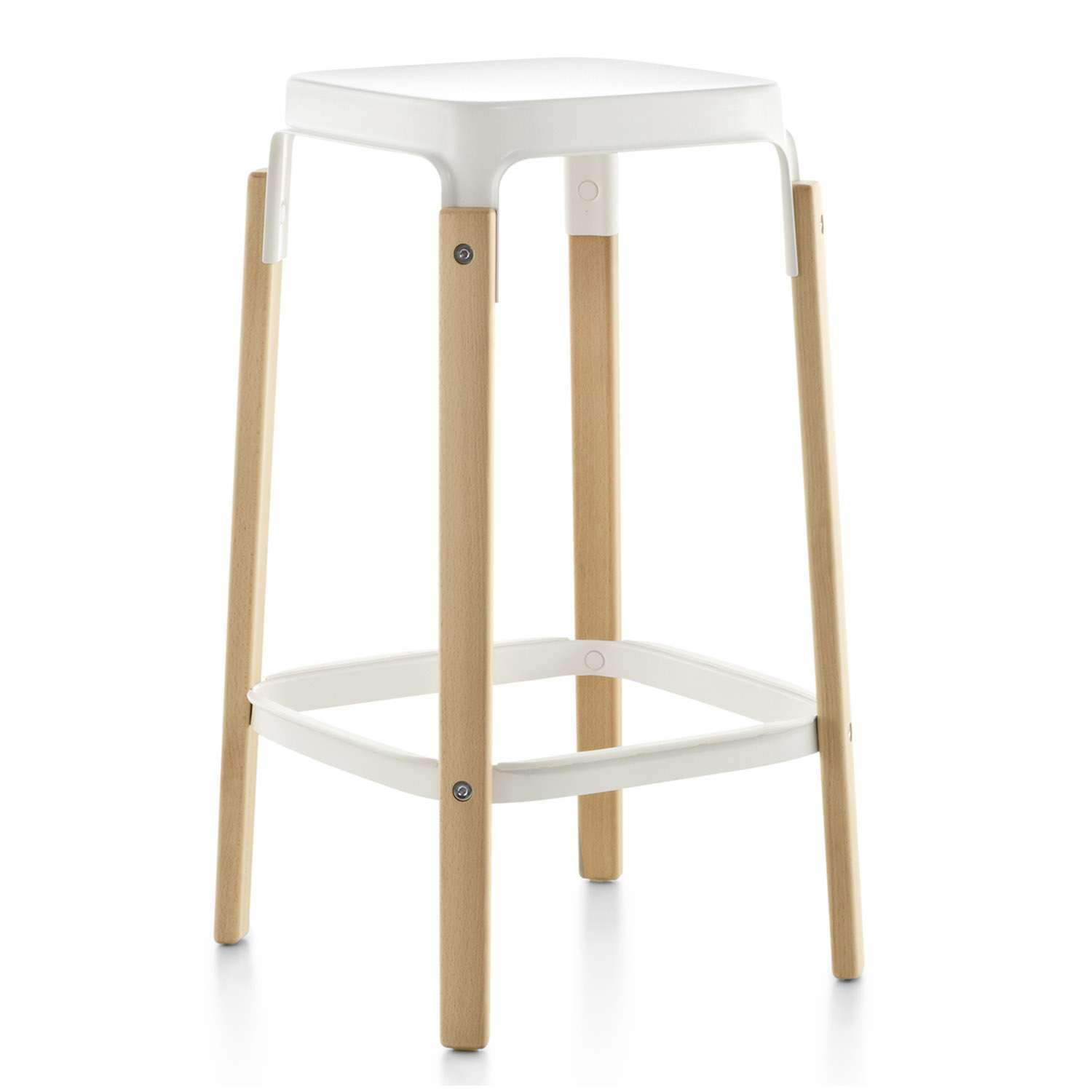Steelwood Bar Stool White Seat and Foot-rest, Natural Beech Frame, 78cm