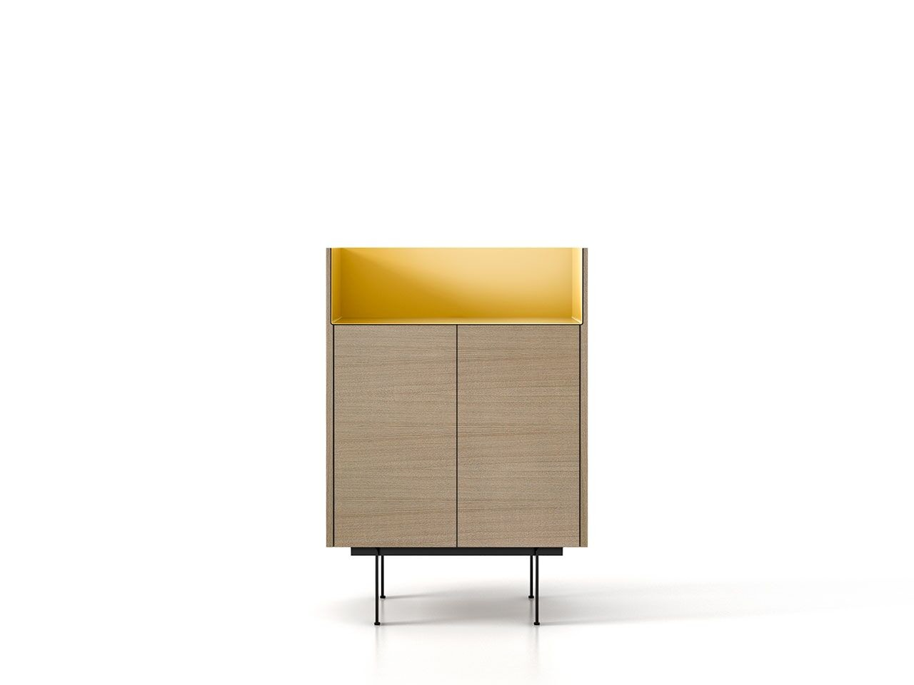 STH111 Stockholm Sideboard Whitened Oak, Gold Anodised Aluminium, Black Textured Metal