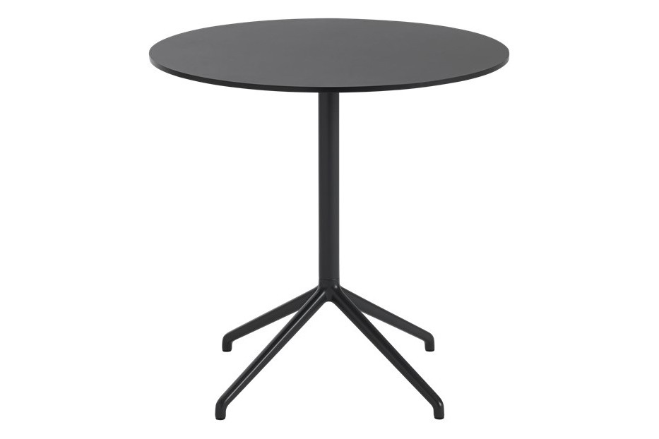 Still Cafe Table - Round Top - Low Black Linoleum 75 H 73