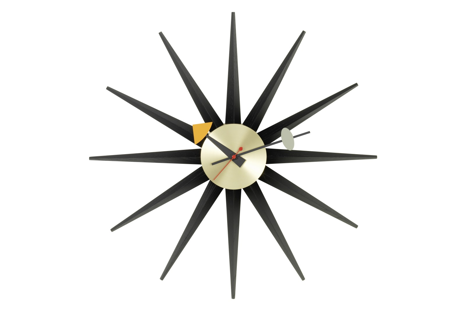 Sunburst Wall Clock black/brass