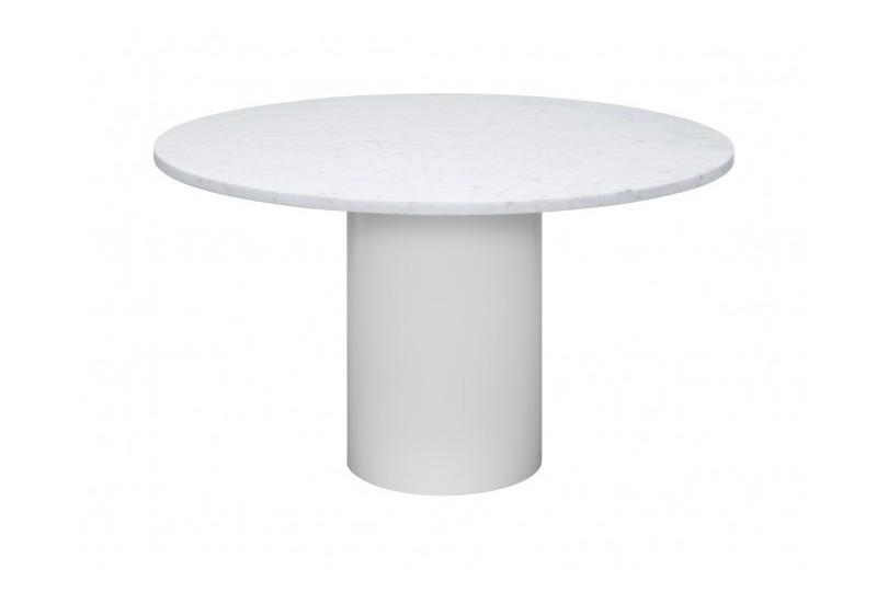 TA20 Hiroki Round Dining Table 135, Bianco Carrara / Oiled White / Marble, Signal White