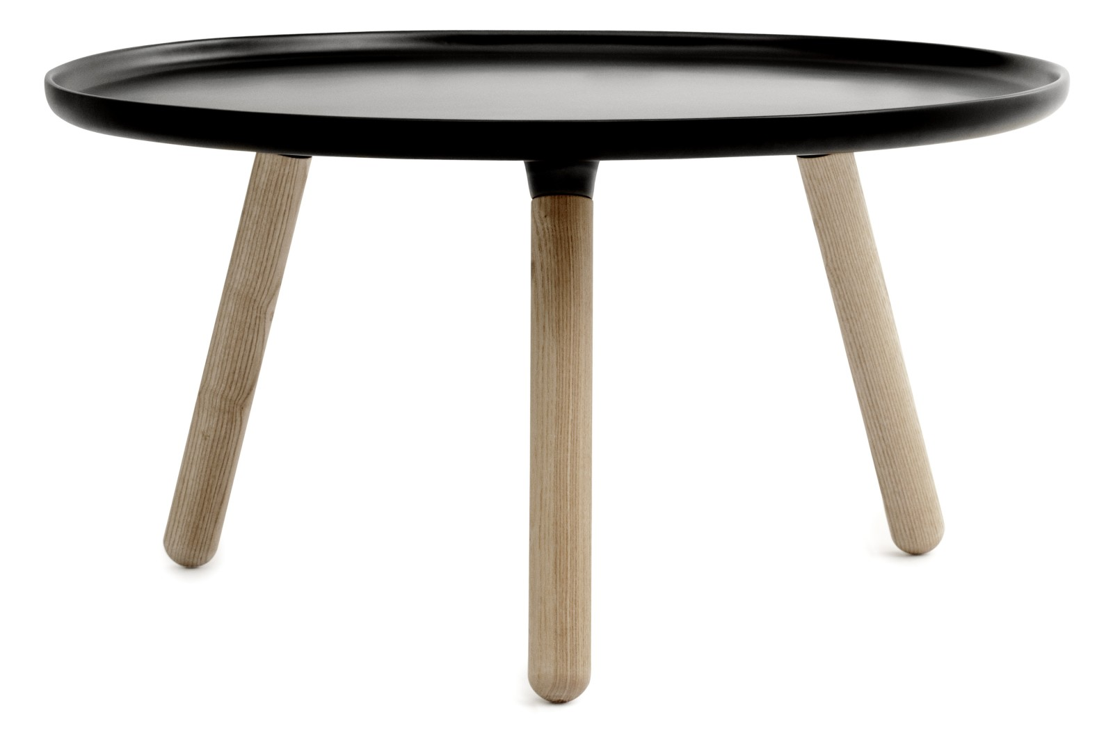 Tablo Round Coffee Table Black Top, Natural Ash Legs, Large