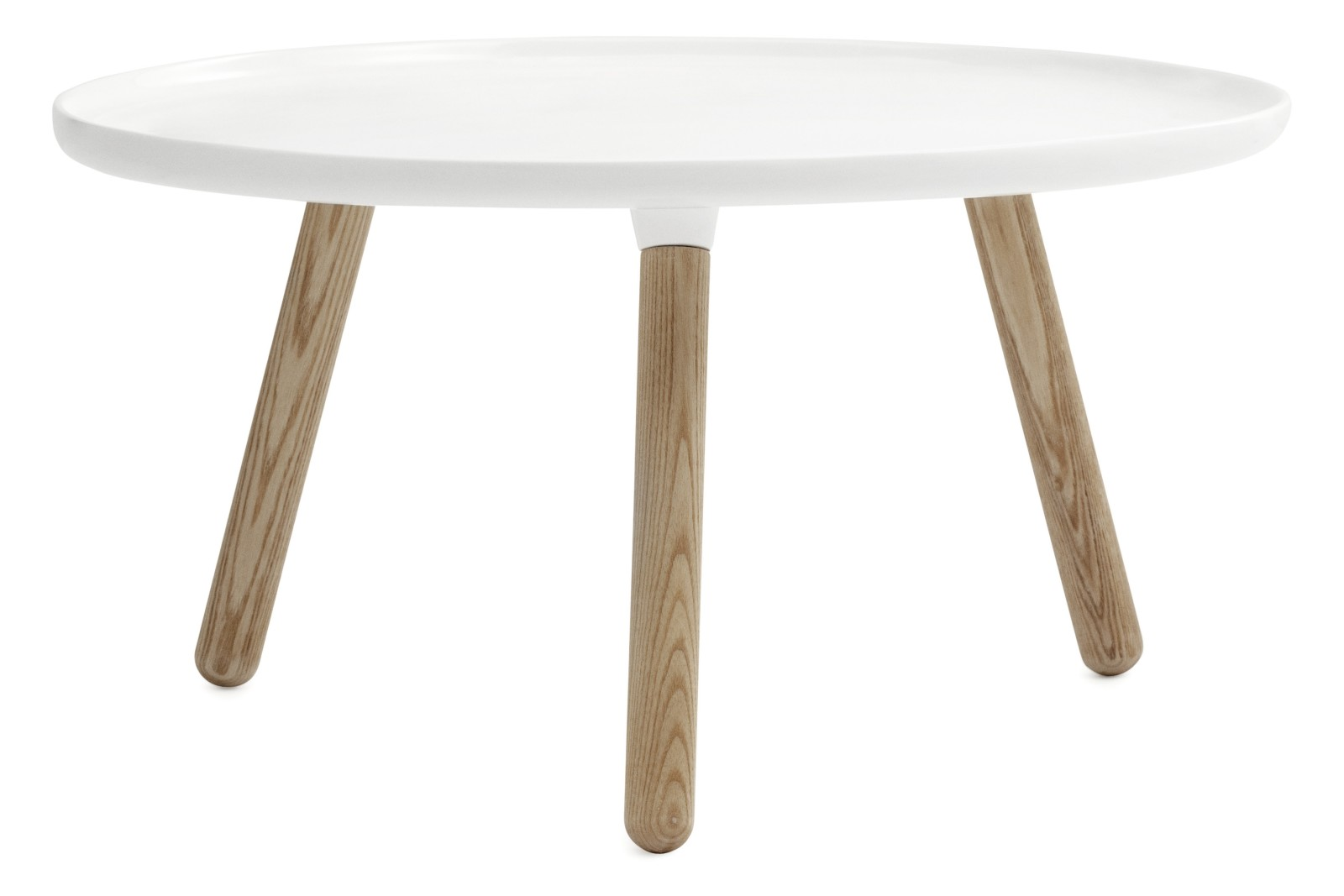 Tablo Round Coffee Table by HAY White Top, Natural Ash Legs, Large