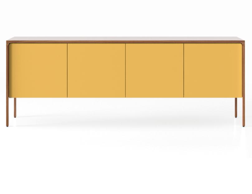 TAC215 Tactile Sideboard Super-Matt Walnut, Mustard Texturised Lacquered
