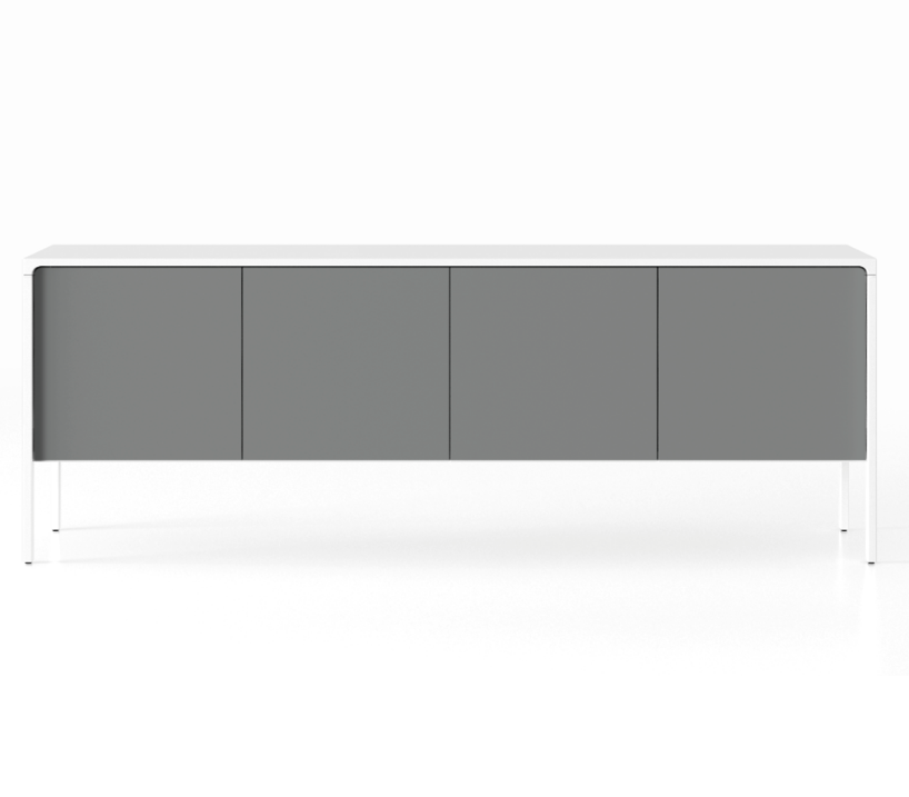 TAC215 Tactile Sideboard White Open Pore Lacquered on Oak, Anthracite Texturised Lacquered