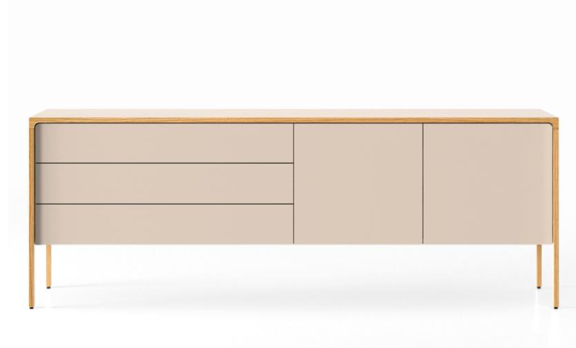 TAC216 Tactile Sideboard Super-Matt Oak, Cream Texturised Lacquered (ncs1005-u50r)