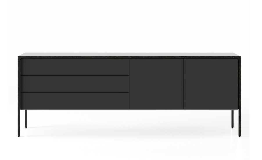 TAC216 Tactile Sideboard Dark Grey Stained Oak, Black Texturised Lacquered