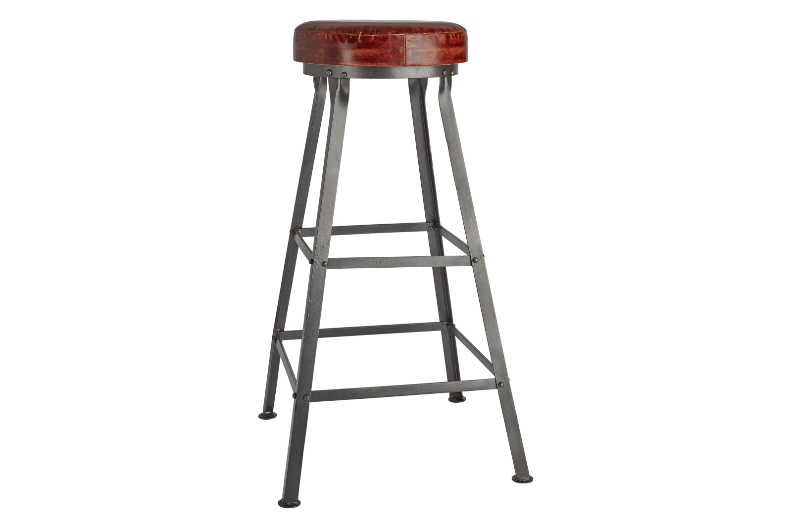 Tall Vintage Bar Stool Tall Vintage Real Leather & Metal Work Bar Stool - 32 Inch