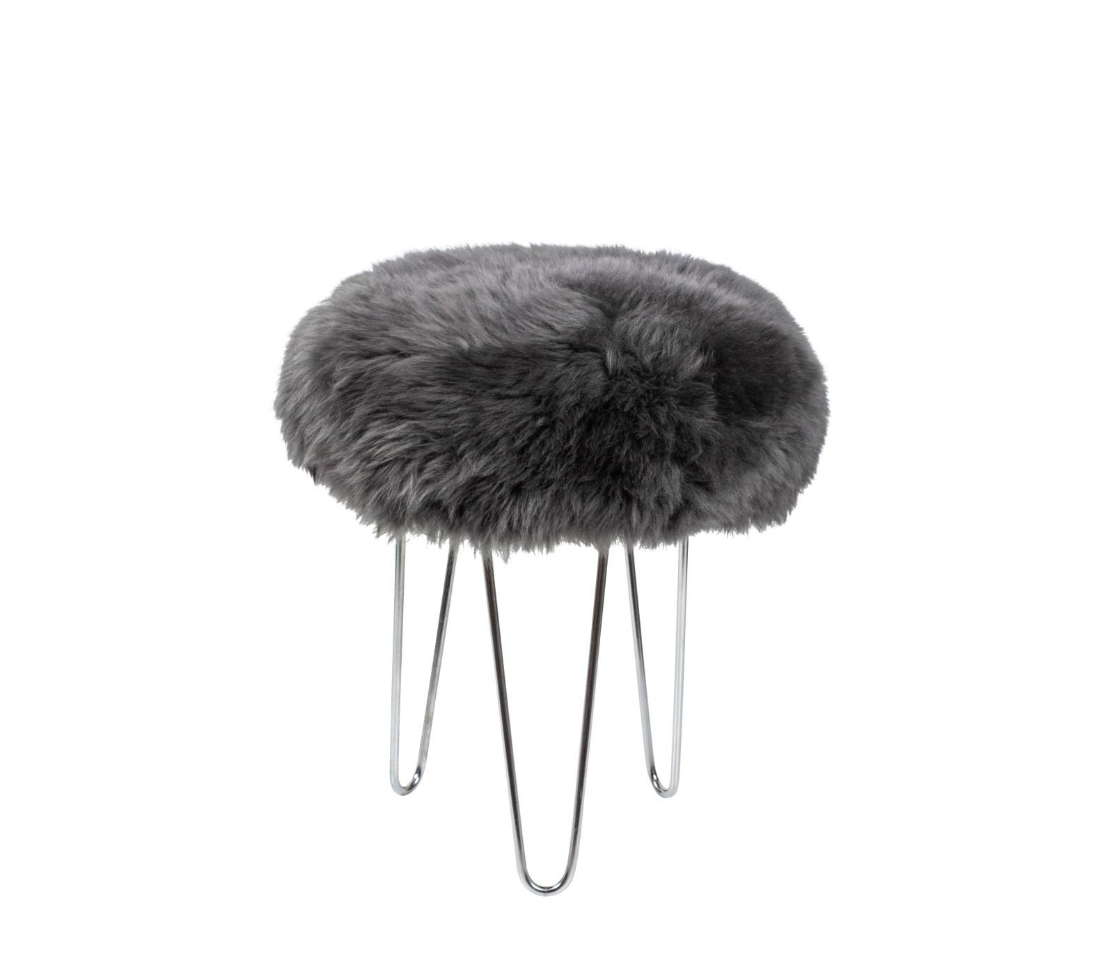 Talulah - Sheepskin Footstool Slate Grey