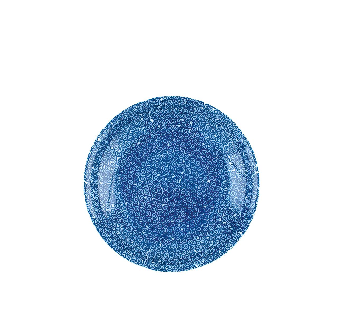 The White Snow Agadir - Round Serving Bowl 1 Blue Pattern