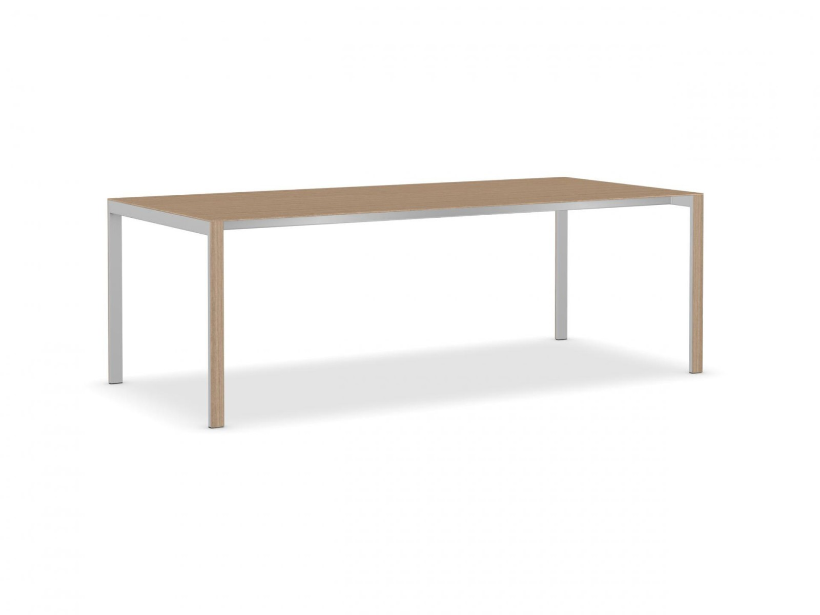 Think-K Longo Wood Table Aluminium Grey, Brushed European Oak, 220 x 100