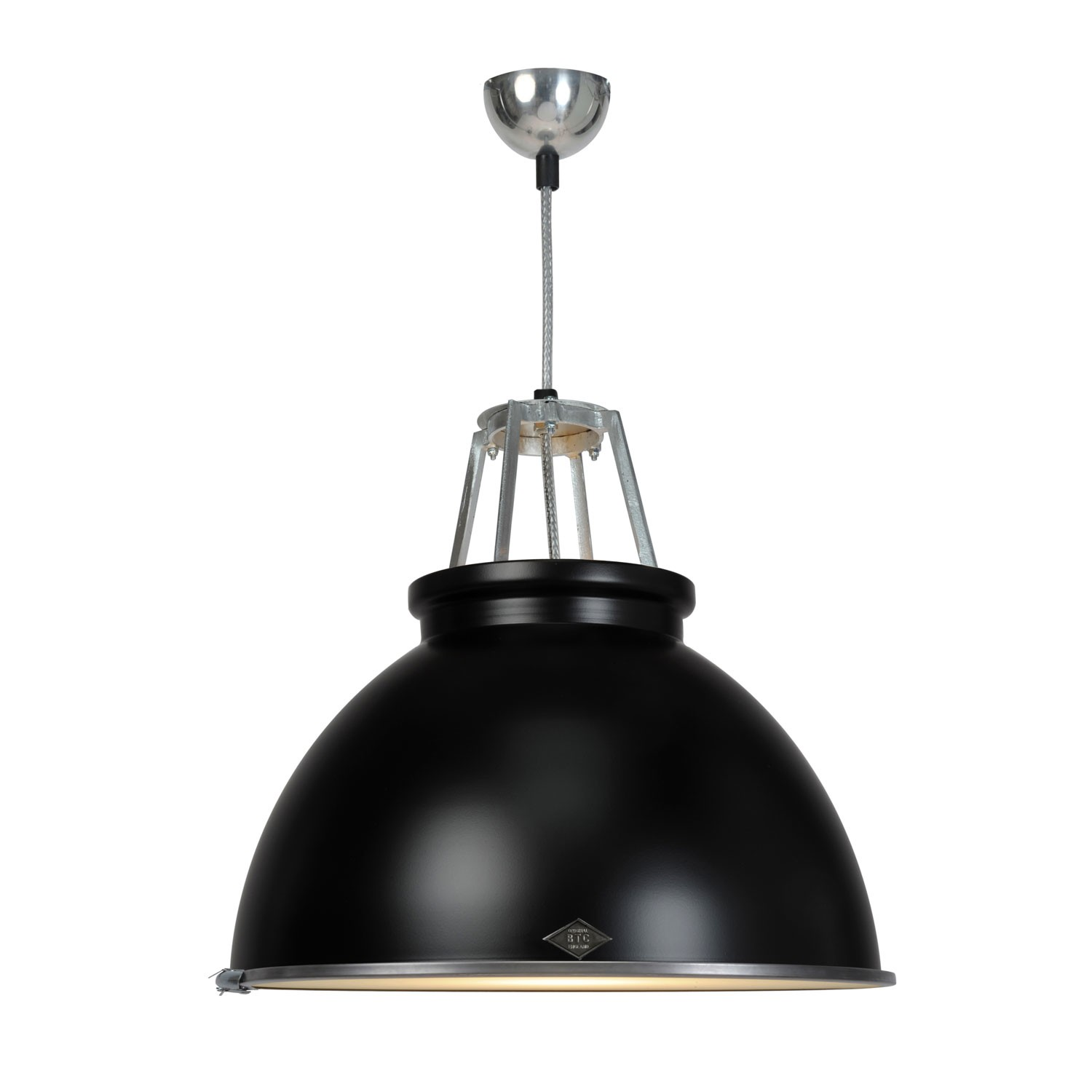 Titan Size 3 Pendant Light Black with Etched Glass