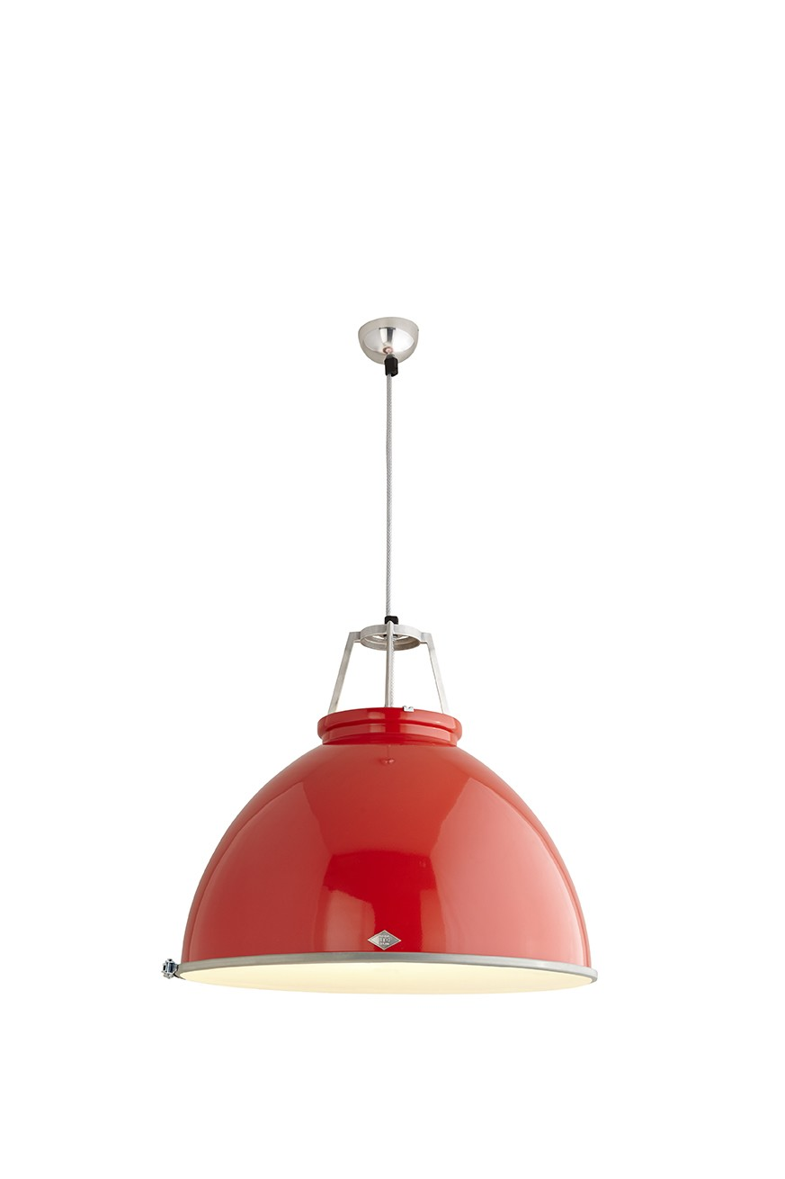 Titan Size 5 Pendant Light Red with Etched Glass