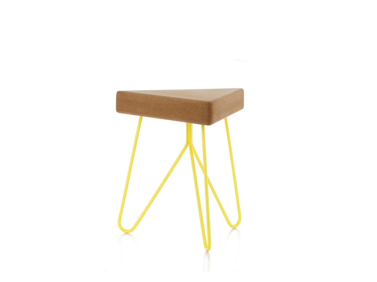 Três stool/table Light Cork with Yellow Legs
