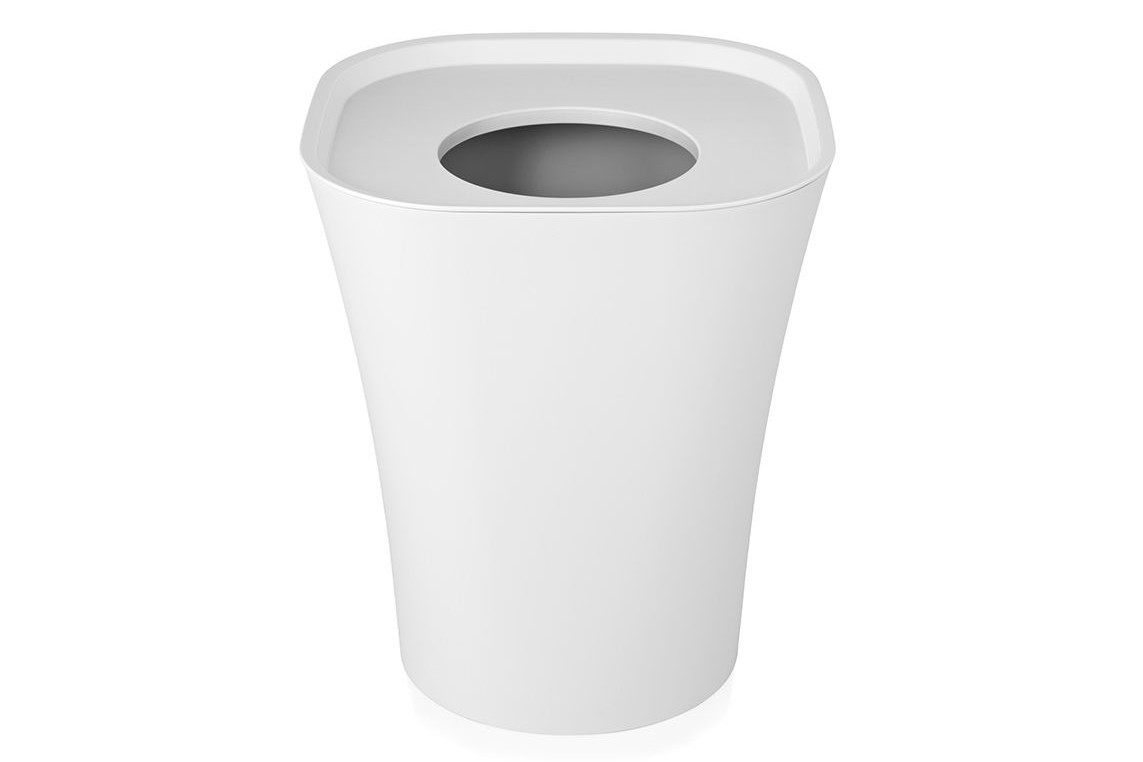 Trash Bin Set of 2 White, Medium