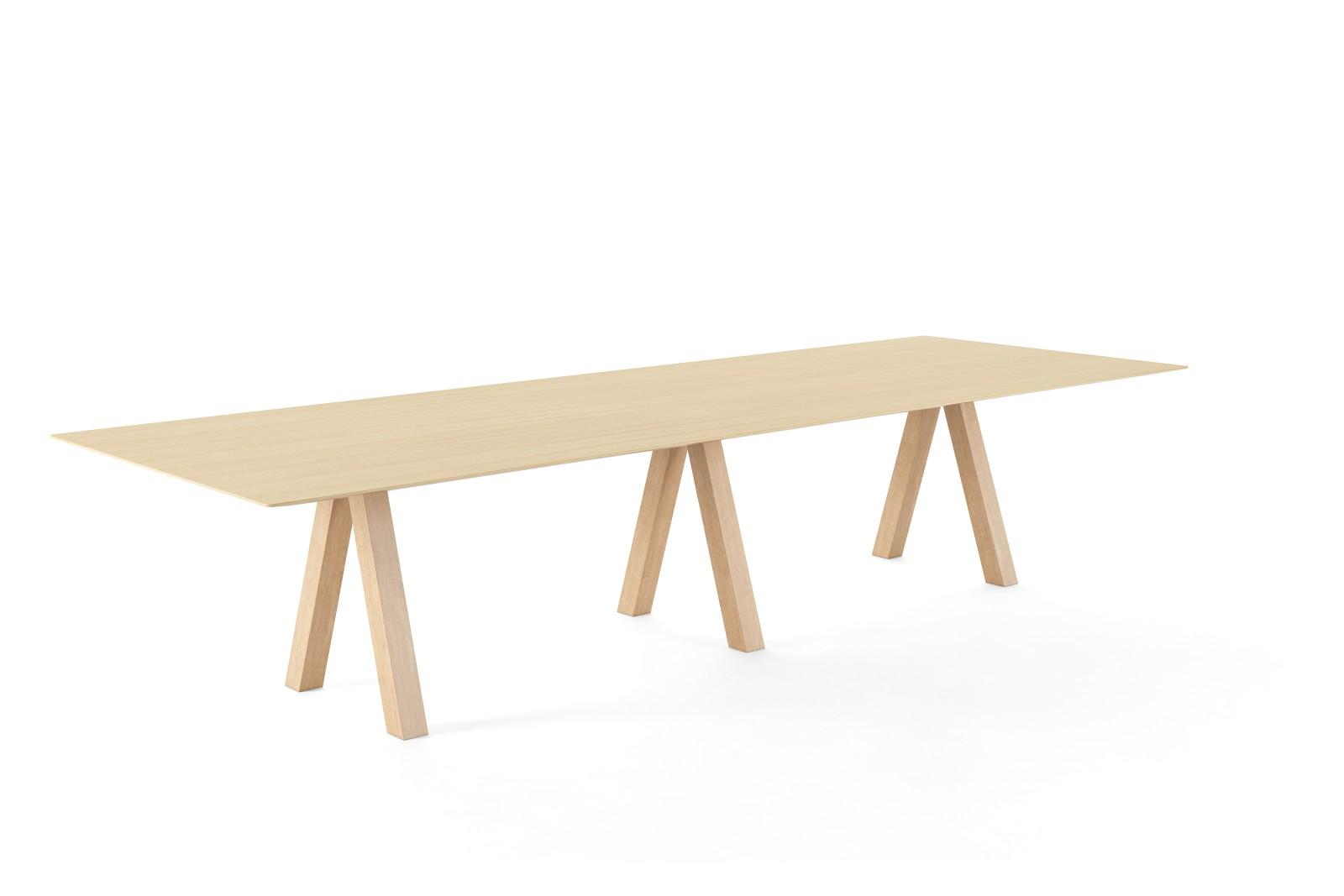 Trestle Double Table Matt Oak, Matt Oak, 360w x 90d x 74h cm