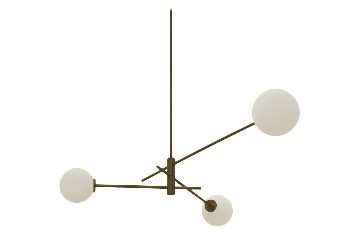 Trevi Three Chandelier Bronze with Matt Opal Glass, drop rod 100