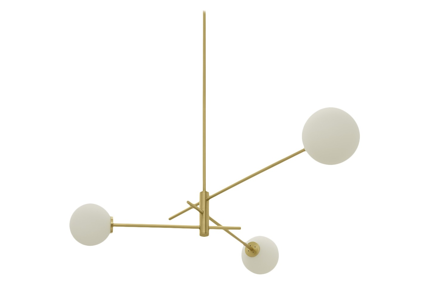 Trevi Three Chandelier Satin Brass with Matt Opal Glass, drop rod 100