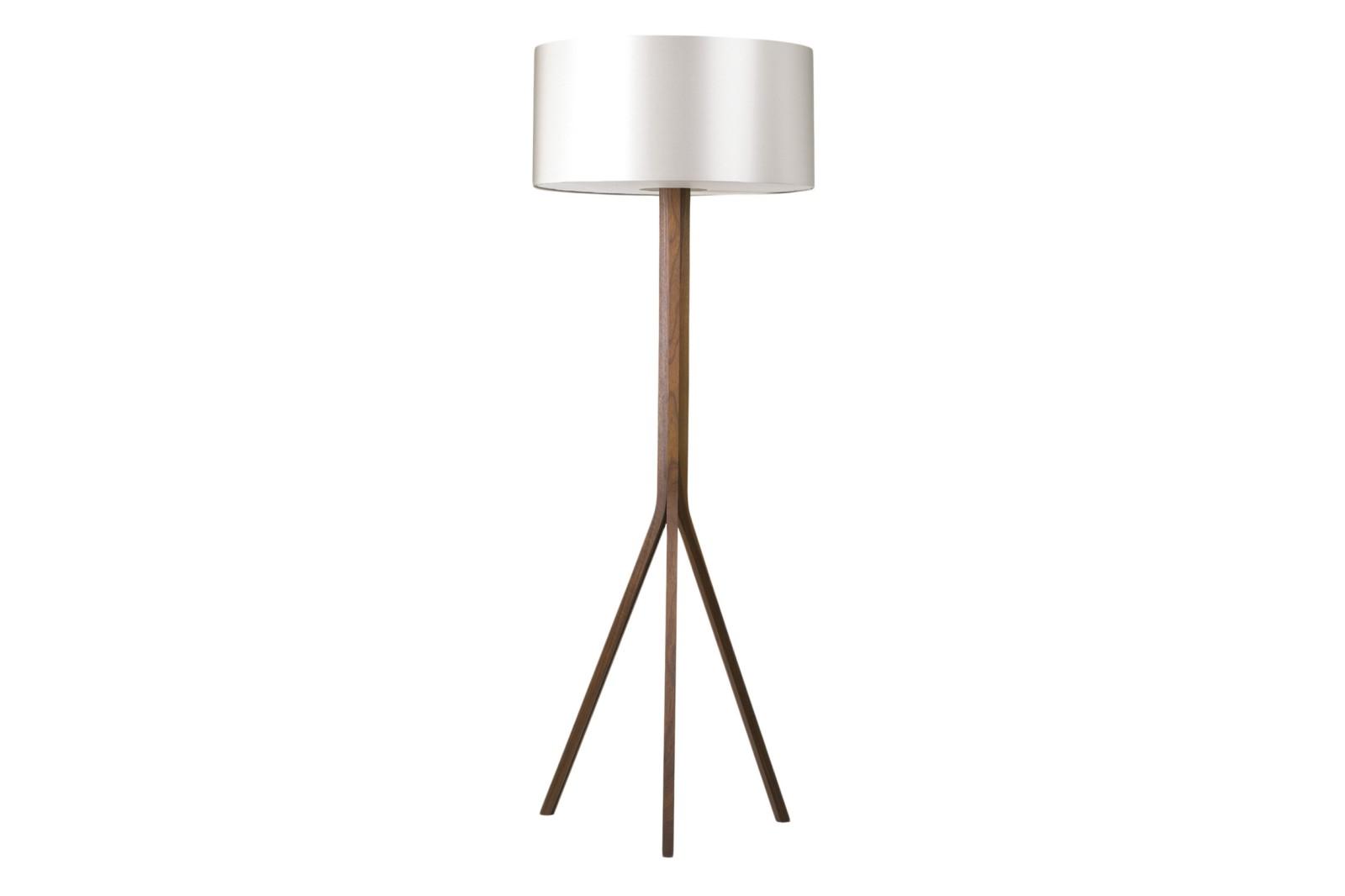 Trico Floor Lamp Solid walnut base with dove grey silk shade and silk diffuser - EU plug