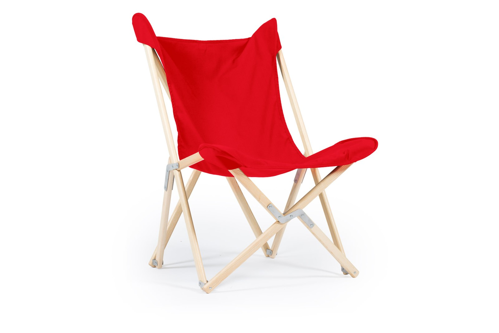Tripolina Chair Primary Red, Natural Frame