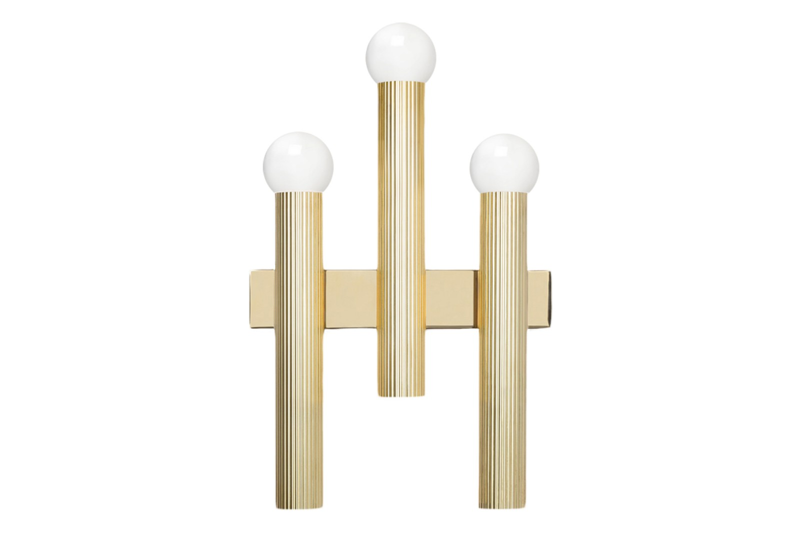 Triptyque Wall Light Polished brass with opal glass shades