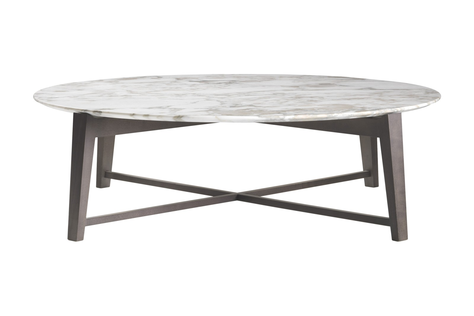 Tris Coffee Table Wood Finishes Ashwood Stained Coffee, Marble Carrara, Low, 127